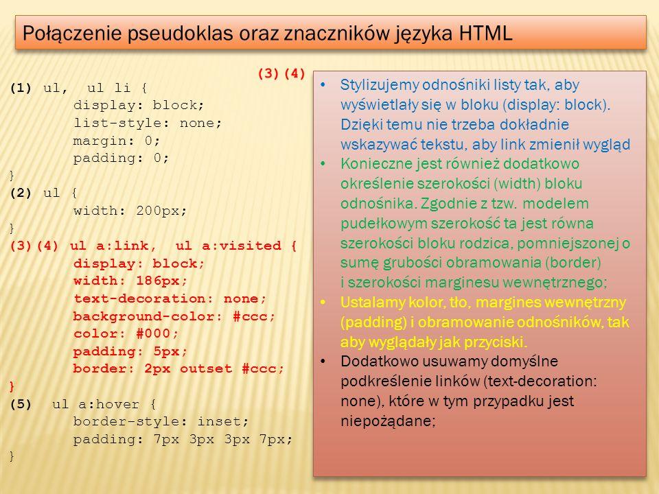 Połączenie pseudoklas oraz znaczników języka HTML