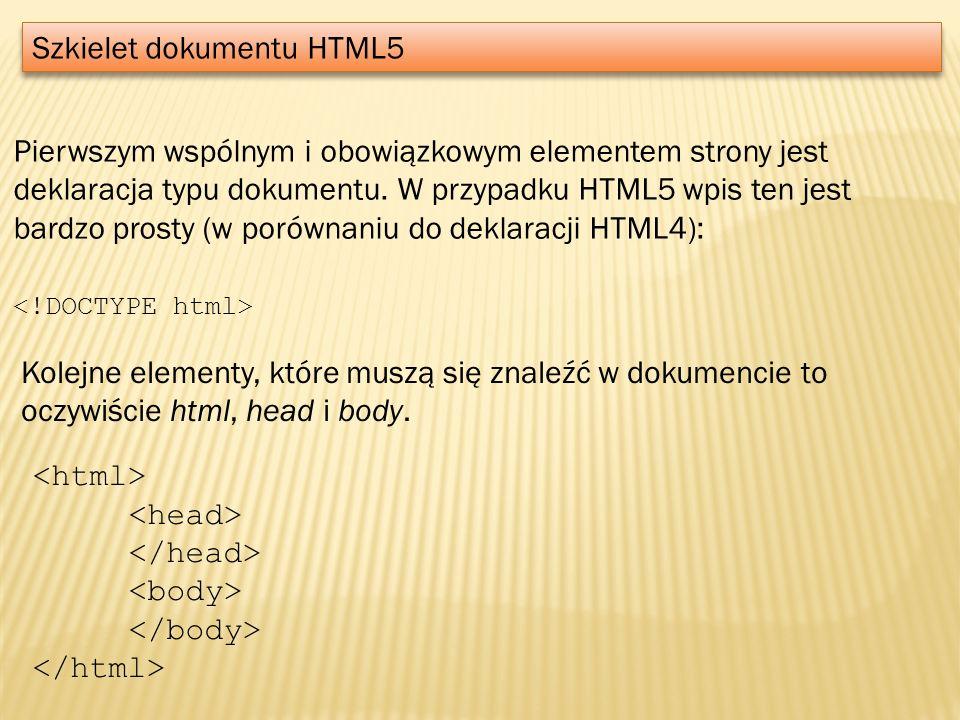 Szkielet dokumentu HTML5