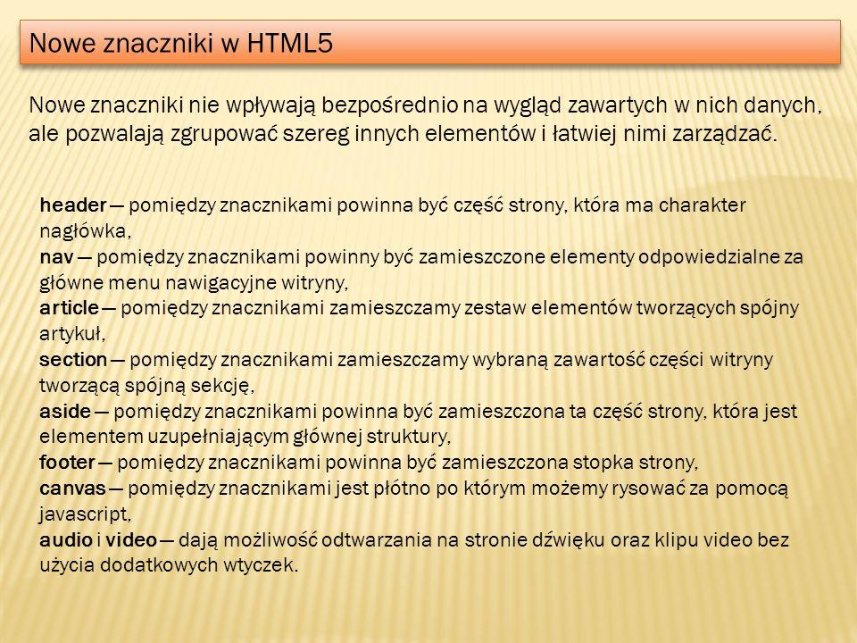 Nowe znaczniki w HTML5
