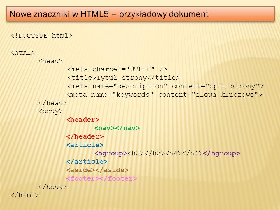 Nowe znaczniki w HTML5 – przykładowy dokument