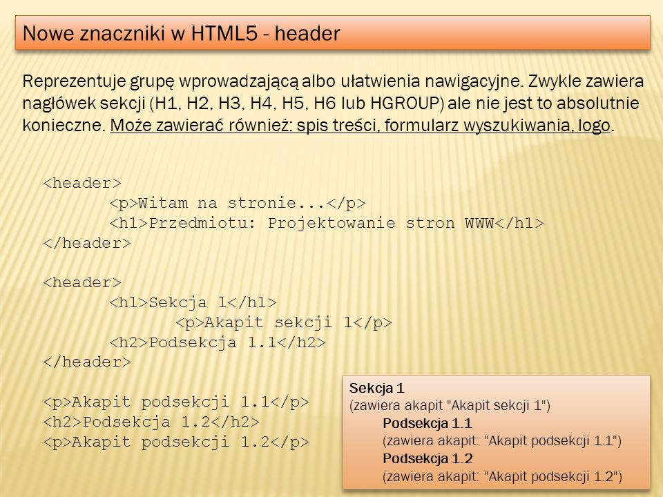 Nowe znaczniki w HTML5 - header