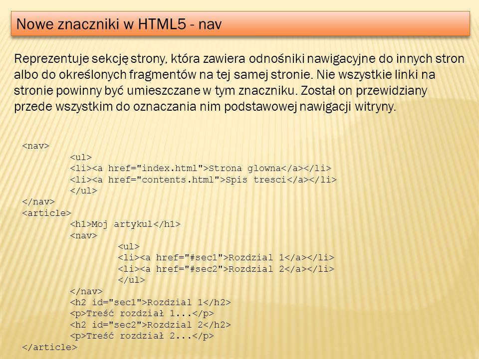 Nowe znaczniki w HTML5 - nav