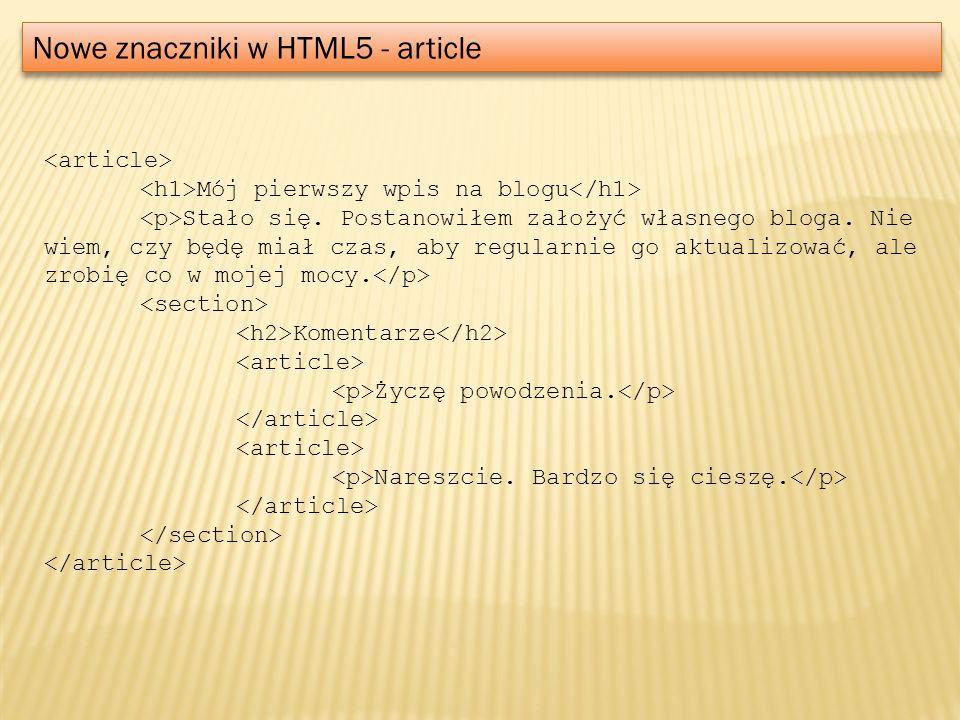 Nowe znaczniki w HTML5 - article