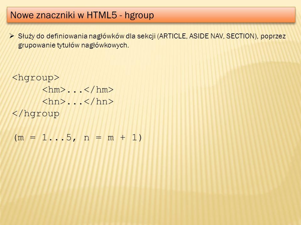 Nowe znaczniki w HTML5 - hgroup