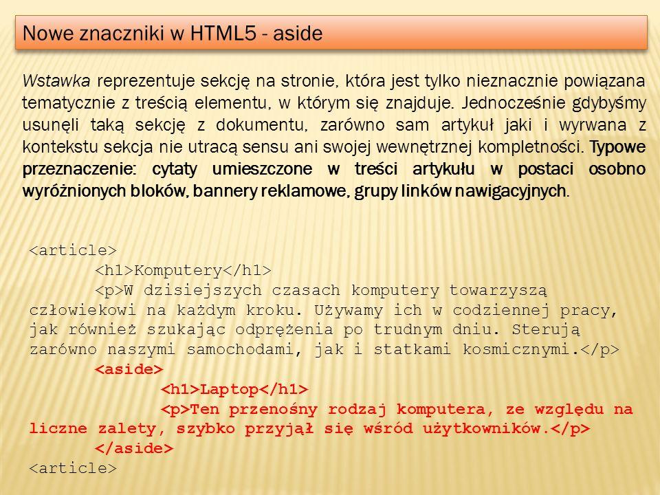 Nowe znaczniki w HTML5 - aside