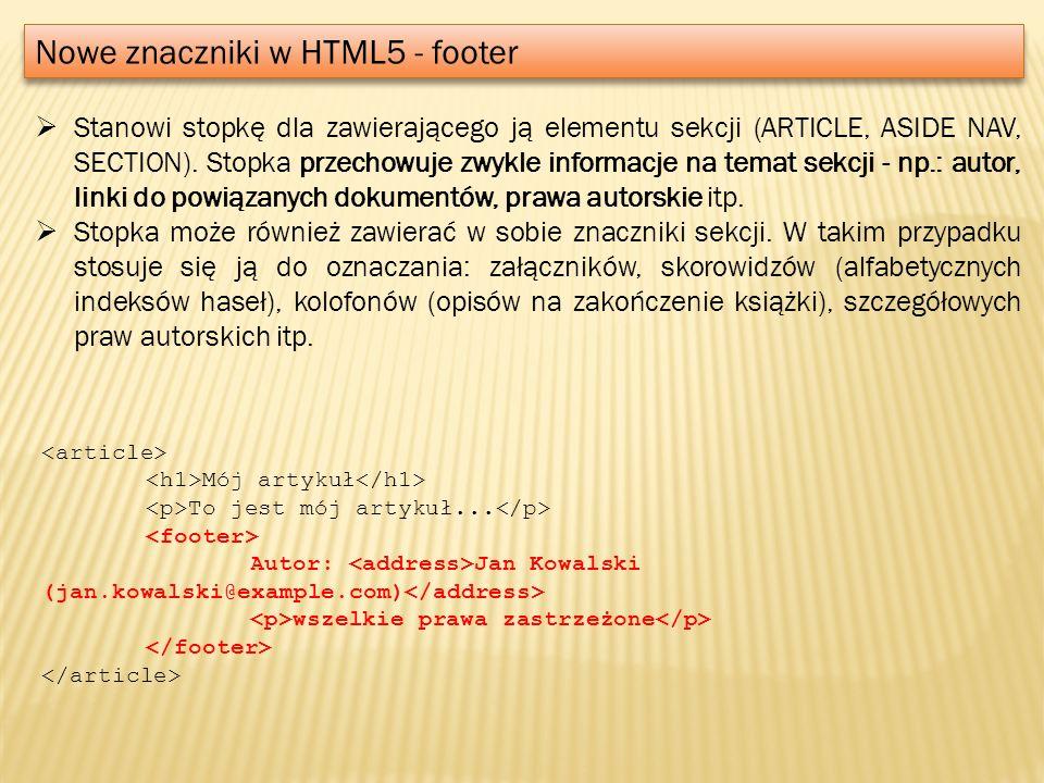 Nowe znaczniki w HTML5 - footer
