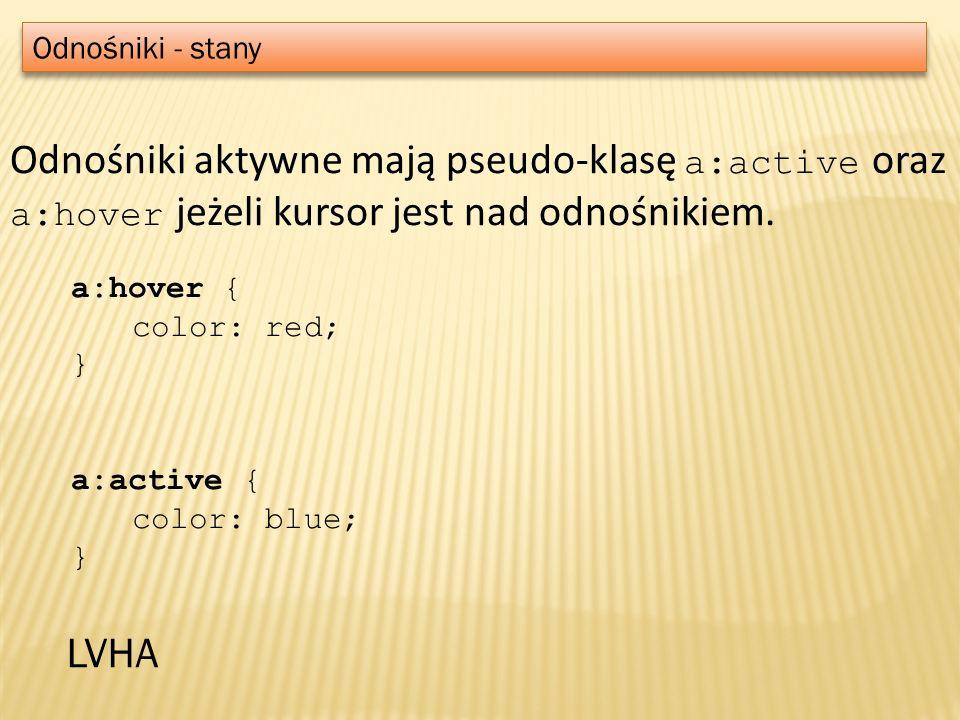 Odnośniki - stany Odnośniki aktywne mają pseudo-klasę a:active oraz a:hover jeżeli kursor jest nad odnośnikiem.