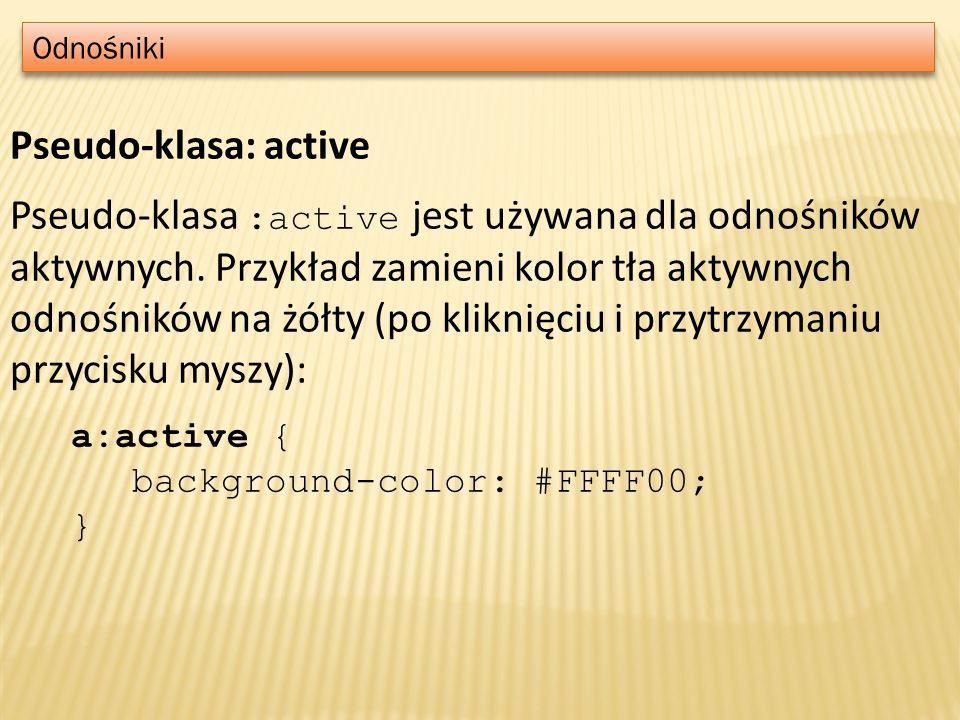 Odnośniki Pseudo-klasa: active.