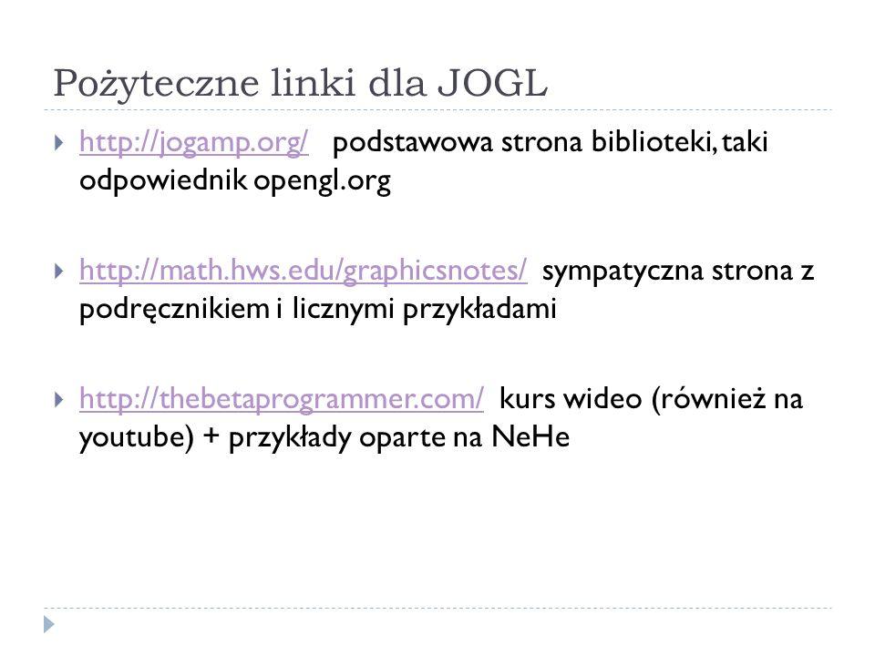 Pożyteczne linki dla JOGL