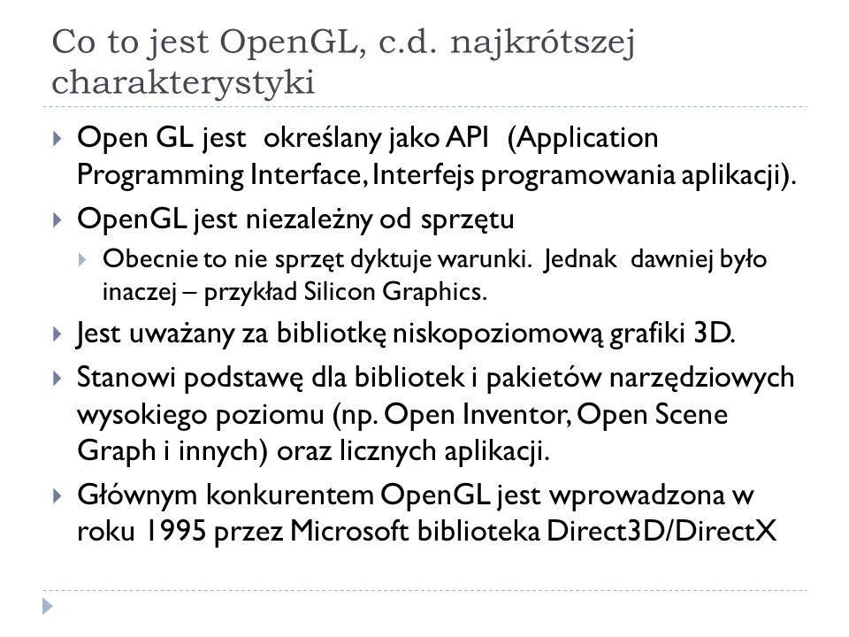 Co to jest OpenGL, c.d. najkrótszej charakterystyki