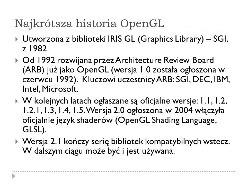 Najkrótsza historia OpenGL