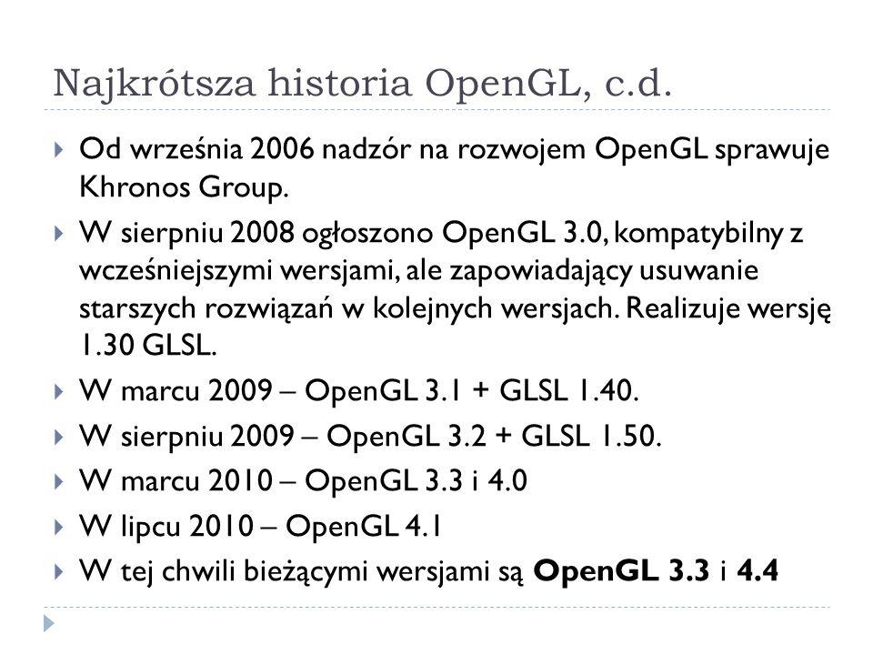 Najkrótsza historia OpenGL, c.d.