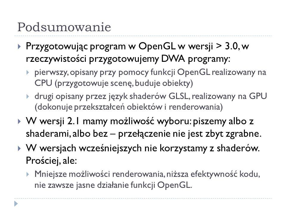 Podsumowanie Przygotowując program w OpenGL w wersji > 3.0, w rzeczywistości przygotowujemy DWA programy: