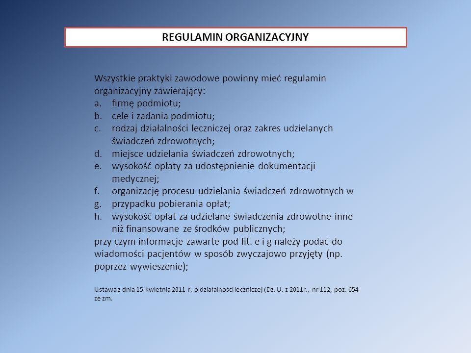 REGULAMIN ORGANIZACYJNY
