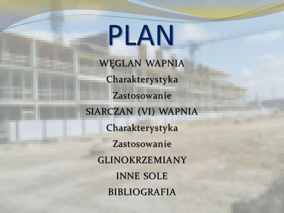 PLAN WĘGLAN WAPNIA Charakterystyka Zastosowanie SIARCZAN (VI) WAPNIA GLINOKRZEMIANY INNE SOLE BIBLIOGRAFIA