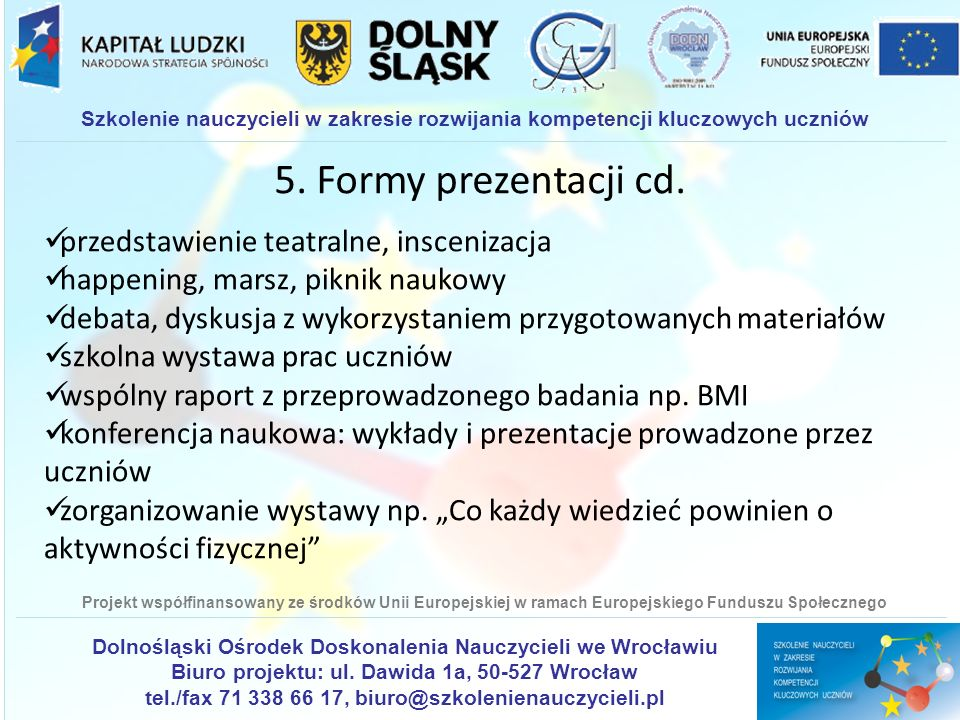 5. Formy prezentacji cd. przedstawienie teatralne, inscenizacja