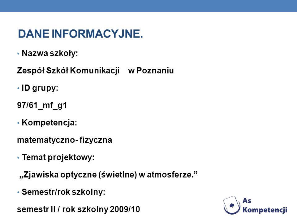 Dane INFORMACYJNE. Nazwa szkoły: Zespół Szkół Komunikacji w Poznaniu