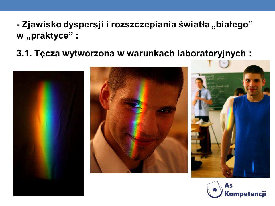 """- Zjawisko dyspersji i rozszczepiania światła """"białego w """"praktyce : 3.1."""