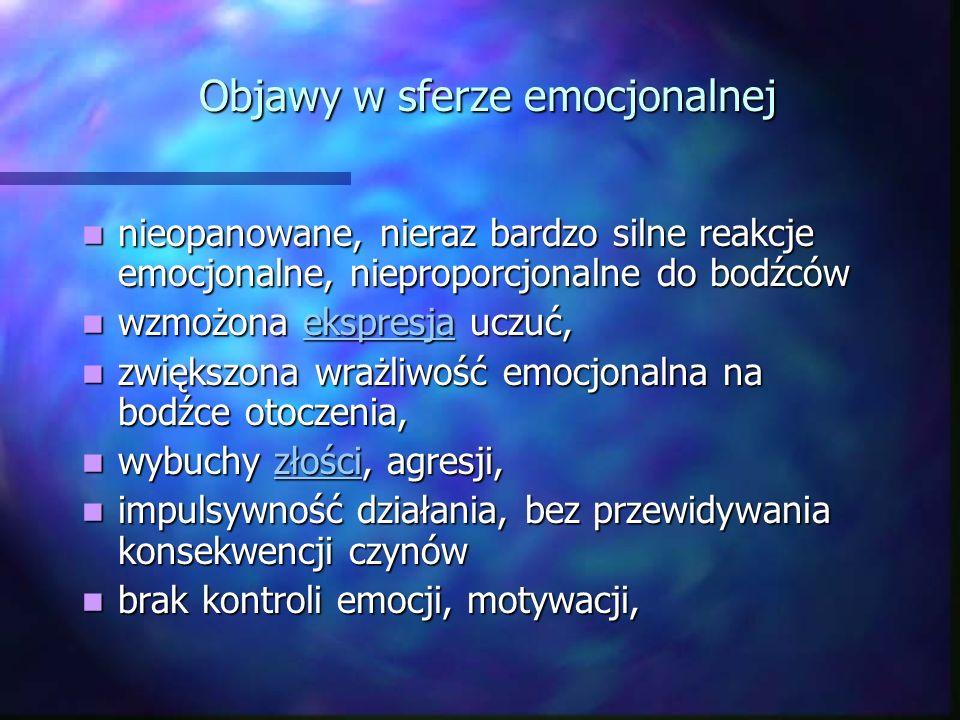Objawy w sferze emocjonalnej