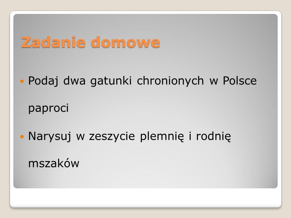 Zadanie domowe Podaj dwa gatunki chronionych w Polsce paproci