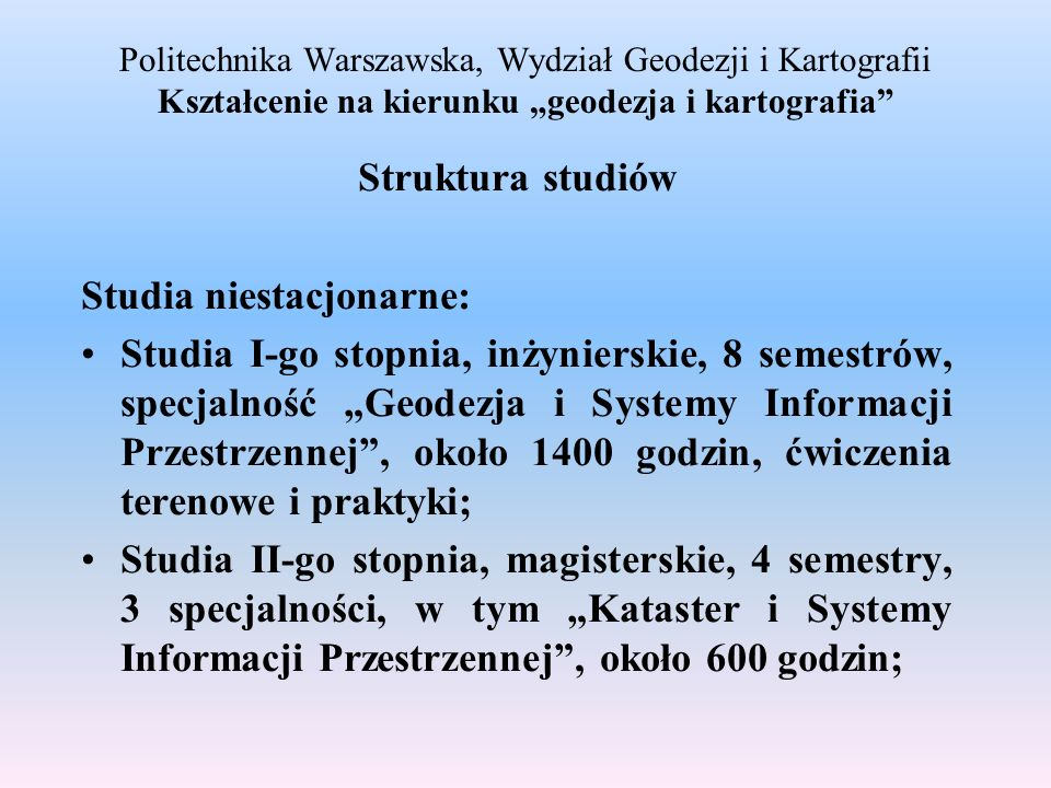 Studia niestacjonarne:
