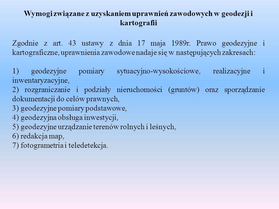 Wymogi związane z uzyskaniem uprawnień zawodowych w geodezji i kartografii