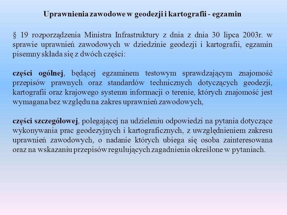 Uprawnienia zawodowe w geodezji i kartografii - egzamin