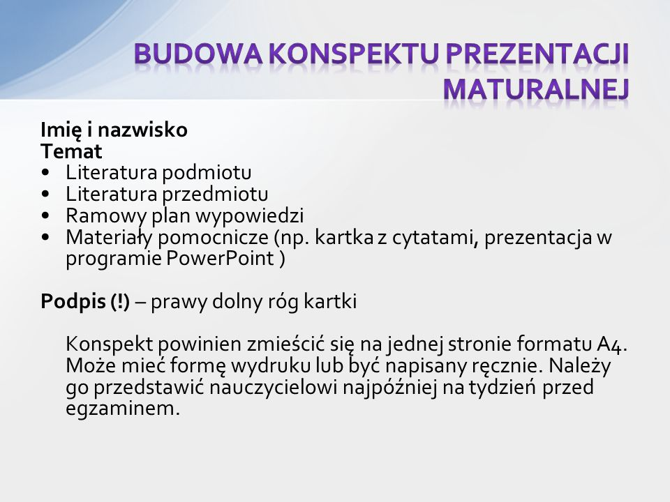 Budowa konspektu prezentacji maturalnej