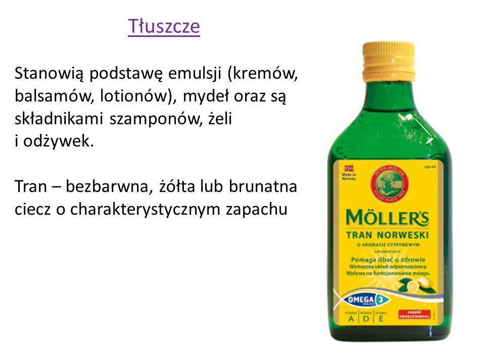 Tłuszcze Stanowią podstawę emulsji (kremów, balsamów, lotionów), mydeł oraz są składnikami szamponów, żeli i odżywek.