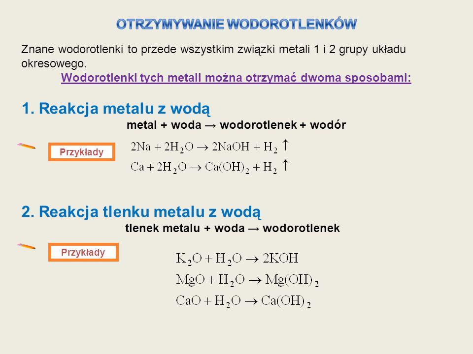 2. Reakcja tlenku metalu z wodą