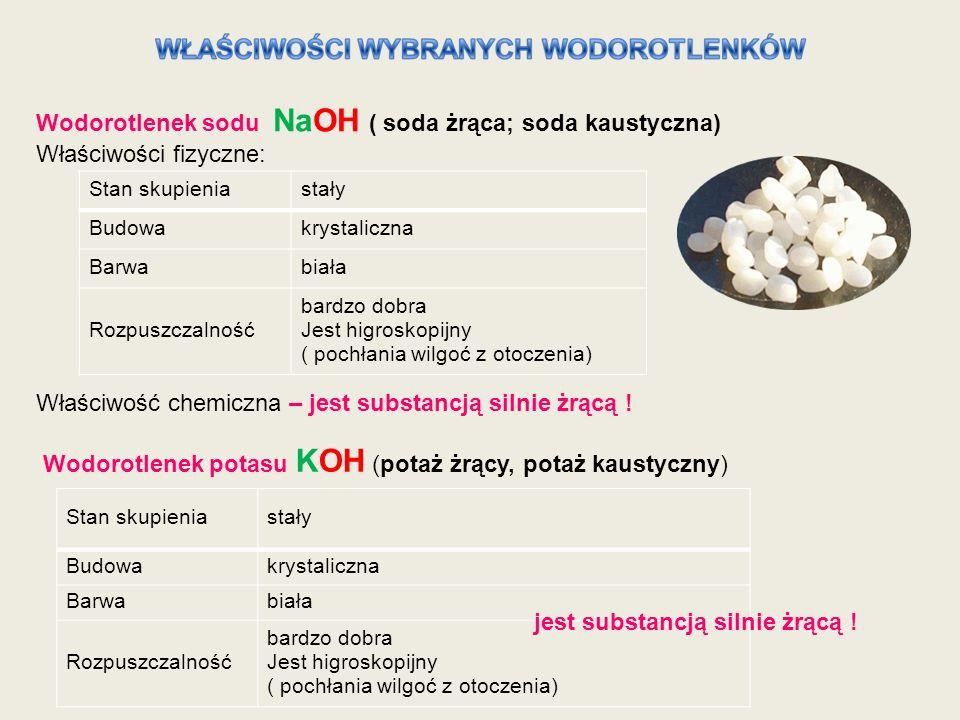 Wodorotlenek sodu NaOH ( soda żrąca; soda kaustyczna)