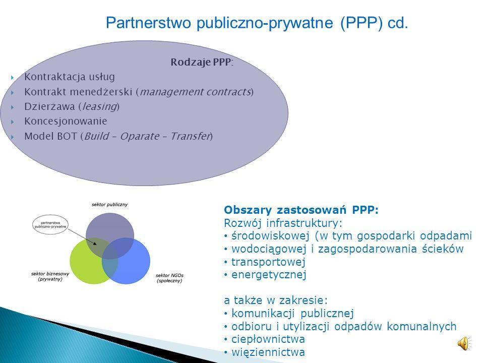 Partnerstwo publiczno-prywatne (PPP) cd.