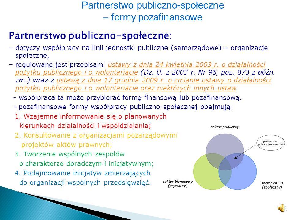 Partnerstwo publiczno-społeczne – formy pozafinansowe