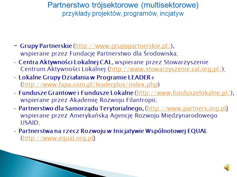 Partnerstwo trójsektorowe (multisektorowe) przykłady projektów, programów, incjatyw