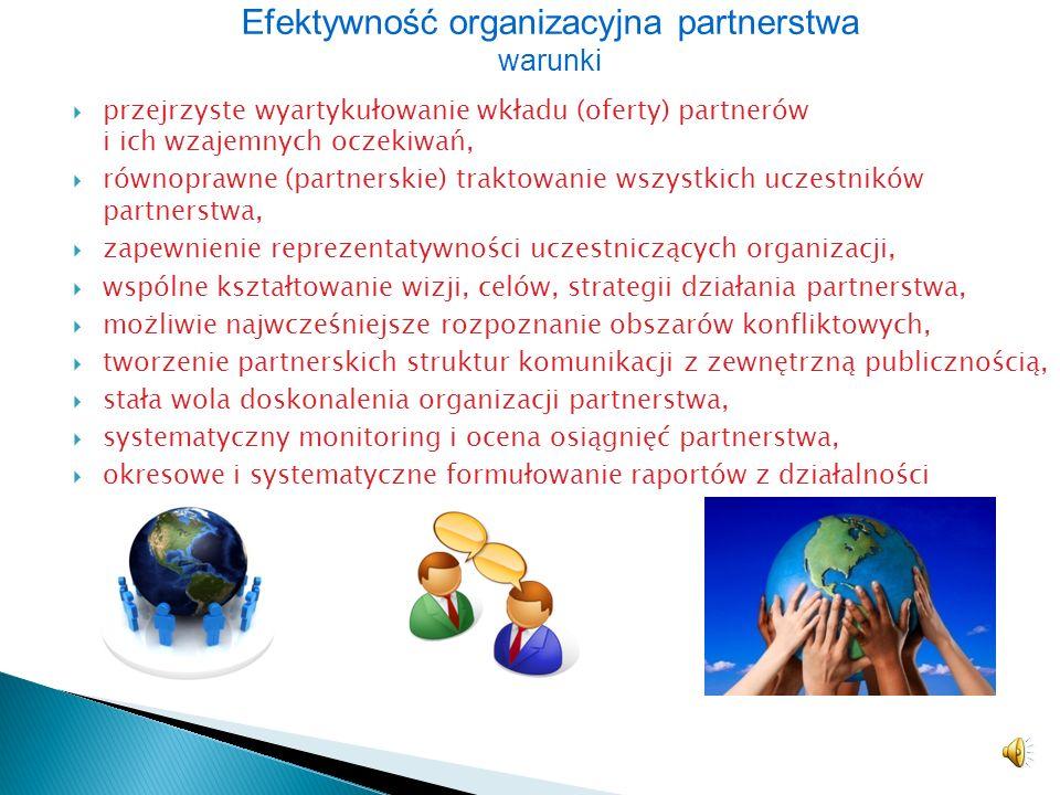 Efektywność organizacyjna partnerstwa warunki