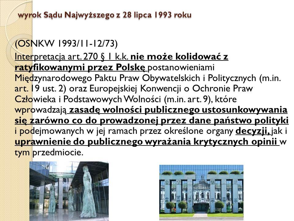 wyrok Sądu Najwyższego z 28 lipca 1993 roku