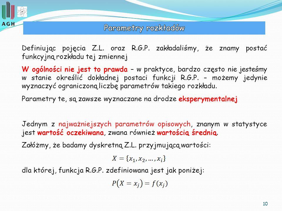 Parametry rozkładów Definiując pojęcia Z.L. oraz R.G.P. zakładaliśmy, że znamy postać funkcyjną rozkładu tej zmiennej.
