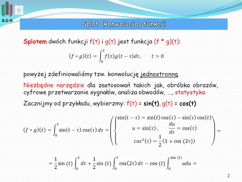 Splot (konwolucja) funkcji