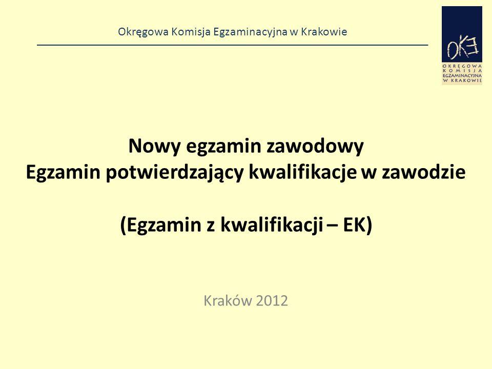 Nowy egzamin zawodowy Egzamin potwierdzający kwalifikacje w zawodzie (Egzamin z kwalifikacji – EK)
