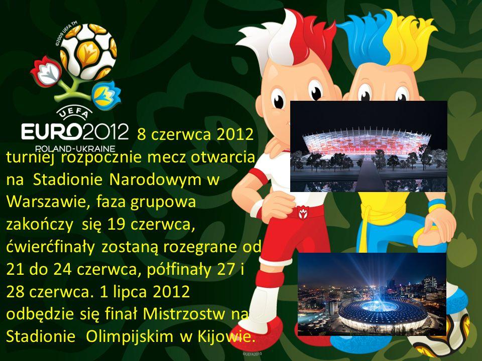 8 czerwca 2012 turniej rozpocznie mecz otwarcia na Stadionie Narodowym w Warszawie, faza grupowa zakończy się 19 czerwca, ćwierćfinały zostaną rozegrane od 21 do 24 czerwca, półfinały 27 i 28 czerwca.