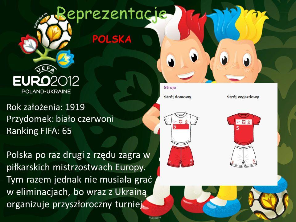 Reprezentacje POLSKA. Rok założenia: 1919. Przydomek: biało czerwoni. Ranking FIFA: 65.