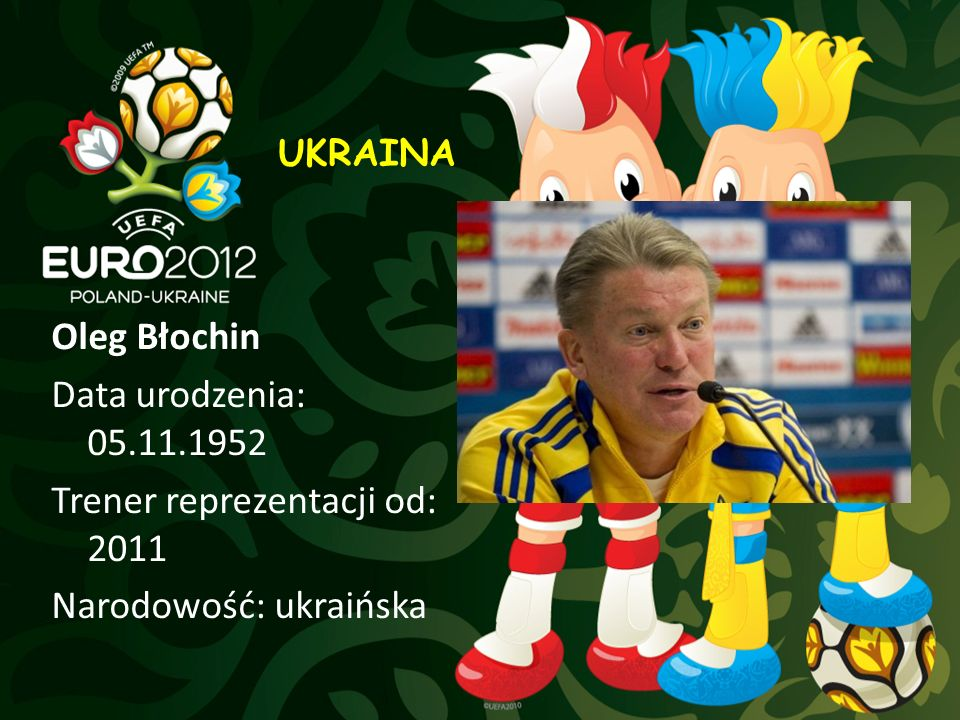 UKRAINA Oleg Błochin Data urodzenia: 05.11.1952 Trener reprezentacji od: 2011 Narodowość: ukraińska