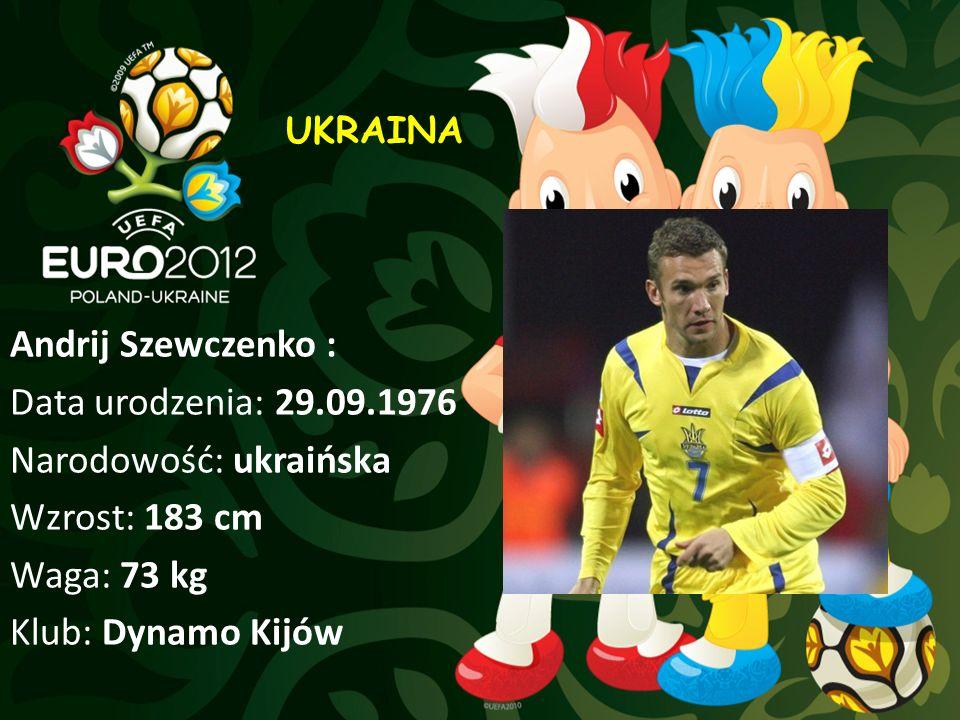 UKRAINA Andrij Szewczenko : Data urodzenia: 29.09.1976 Narodowość: ukraińska Wzrost: 183 cm Waga: 73 kg Klub: Dynamo Kijów