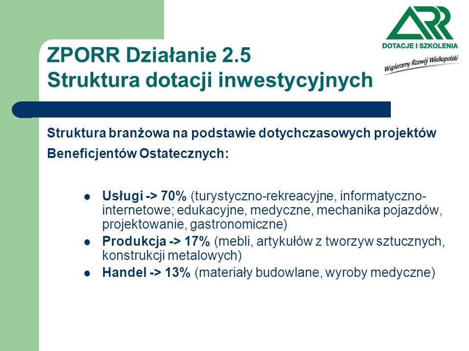 ZPORR Działanie 2.5 Struktura dotacji inwestycyjnych