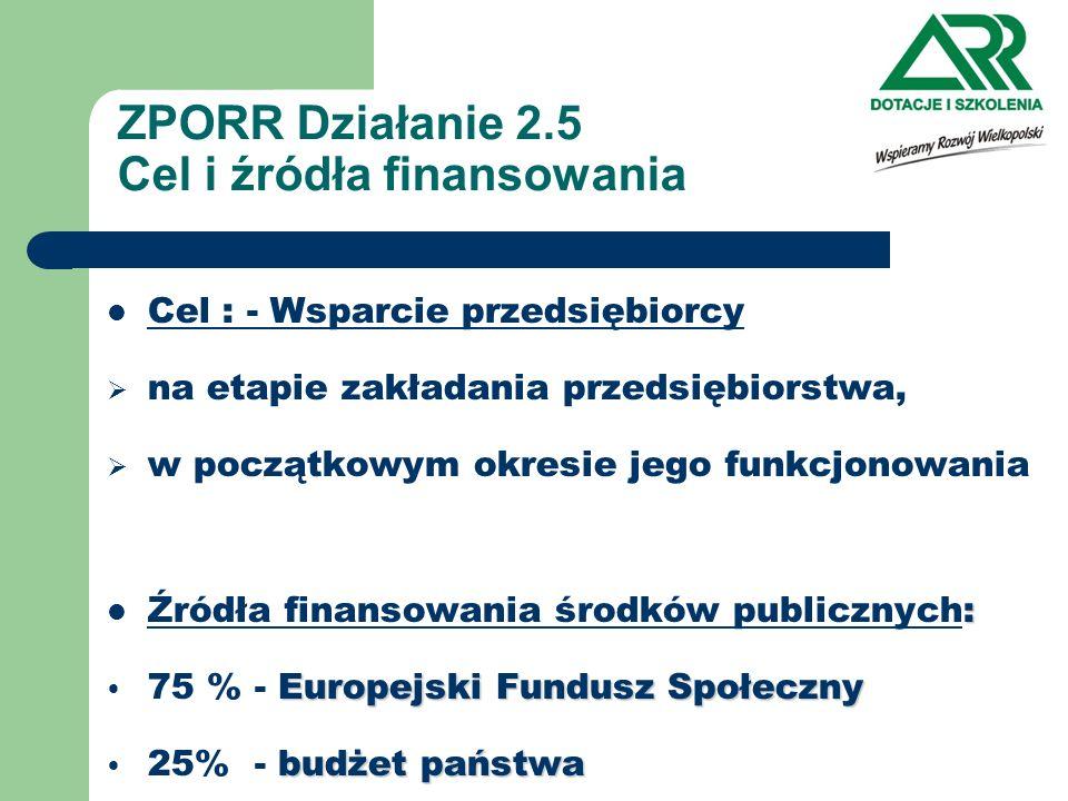 ZPORR Działanie 2.5 Cel i źródła finansowania