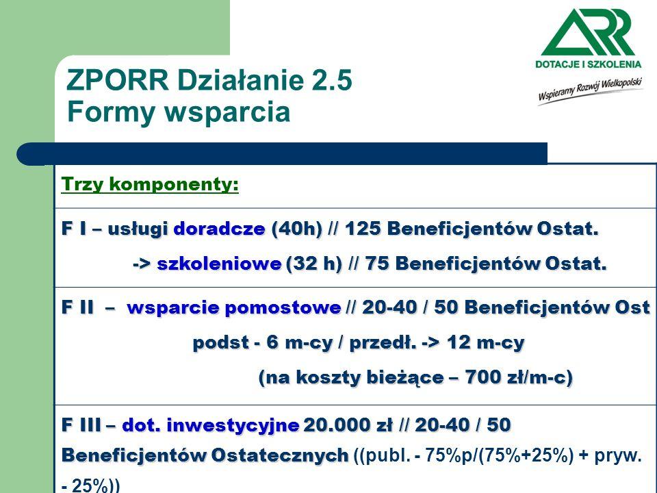 ZPORR Działanie 2.5 Formy wsparcia