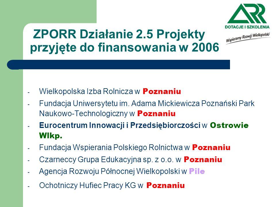 ZPORR Działanie 2.5 Projekty przyjęte do finansowania w 2006