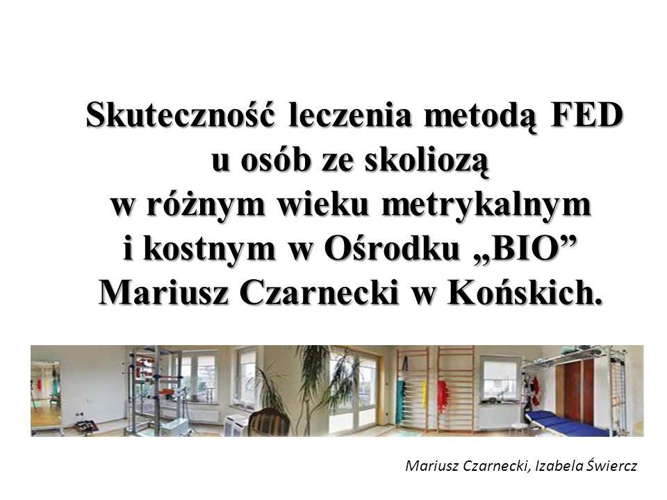"""Skuteczność leczenia metodą FED u osób ze skoliozą w różnym wieku metrykalnym i kostnym w Ośrodku """"BIO Mariusz Czarnecki w Końskich."""