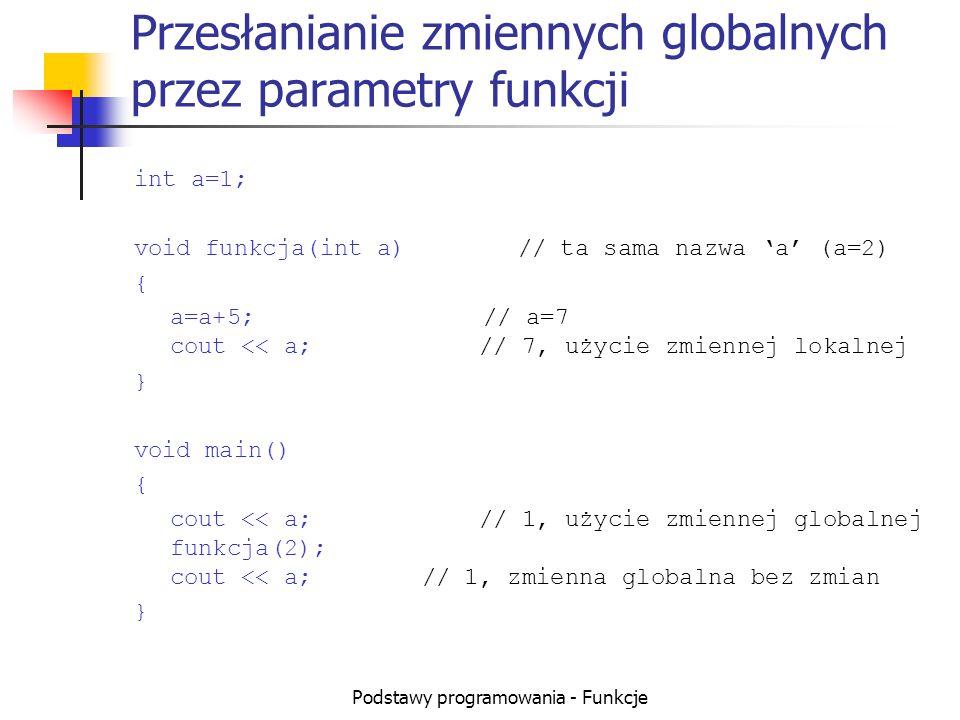 Przesłanianie zmiennych globalnych przez parametry funkcji