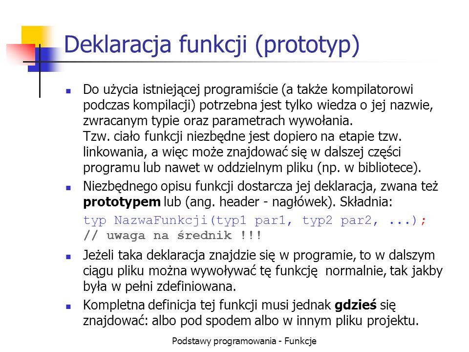 Deklaracja funkcji (prototyp)